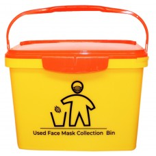 "16 Litre Yellow Rectangular Bucket printed ""Mask Disposal"" with Orange Hinged Lid"